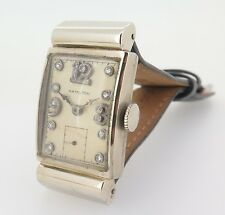 .1937 Hamilton 19J CAL 982 14K White Gold Hooded Lugs Diamond Dial 982 Watch