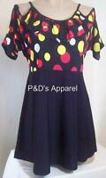Womens Maternity Shirt Top Black Polka Dots Off Shoulder Blouse Size S M L New