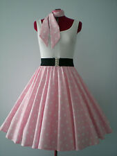 "GIRLS/CHILDS ROCK N ROLL/ROCKABILLY ""Stars"" SKIRT & SCARF 10-12 Pastel Pink/Wte"