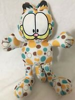"Garfield Cat 14"" Polka Dot Plush Blue Brown Yellow Toy Factory Stuffed Animal"