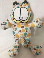 "Garfield Cat 14"" Polka Dot Plush Blue Brown Yellow Toy Factory Stuffed Animal"