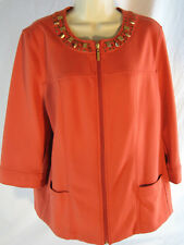 JM Collections Women L Jacket Coral 3/4 length sleeves
