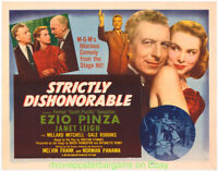 STRICTLY DISHONORABLE MOVIE POSTER JANET LEIGH Unfolded 22x28 HALF SHEET N.Mint