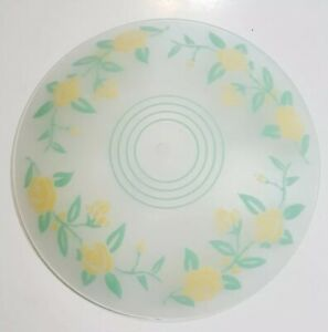 """Cheerful Yellow Roses Vintage Floral Frosted Ceiling Lamp Shade CosyCottage 13"""""""