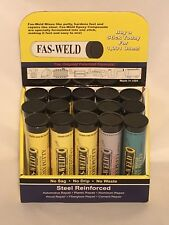 Fas Weld Epoxy Putty 15 Piece Tubes Display Steel Aluminum Plastic Reinforced