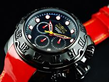 Invicta Men's 52mm Lupah Espadon Chronograph Black Dial Red Leather Strap Watch