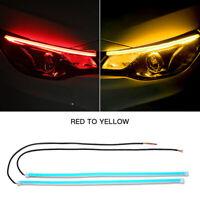 2x 30cm DRL Flexible LED Tube Strip Red Daytime Running Lights Yellow Turn Lamps