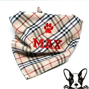 Handmade Personalised Embroidered Dog Bandana Neckerchief Burberry Design