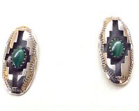 Sterling Silver Malachite Earrings. Signed P