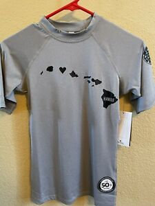 Womens New Rip Curl performance fit short sleeve Hawaii grey rash guard UPF 50 L