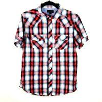 Just Jeans Men's Sz Medium Short Sleeve Collared Snap Button Plaid Casual Shirt