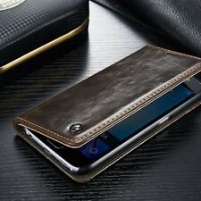 for Samsung S6 - Brown Leather Folio Book Case Magnetic Wallet Pouch C