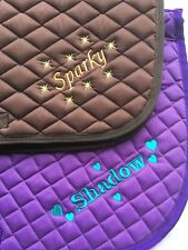 Personalised Embroidered Quilted Saddle Cloth/pad  7 Colours, Hearts/Stars