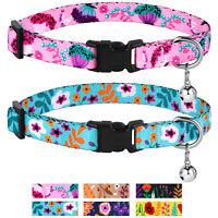 Cat Collar with Bell Nylon Breakaway Collars for Cats Kitten 2 Pack Set Flower