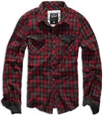 Brandit Uomo a Quadri Camicia flanella Shirt Casella Nero-verde XXL