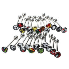 H3 25 Logo Surgical Steel Tongue Bar Ring Barbell Piercing