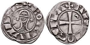 CRUSADERS (1163-1188 AD) Bohemond AR Denier. Antioch #CR 8158