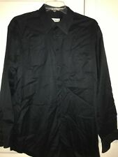 Pronto-Uomo Non Iron Black Button Front Shirt Long Sleeve 36/37 Size Tall 17 1/2
