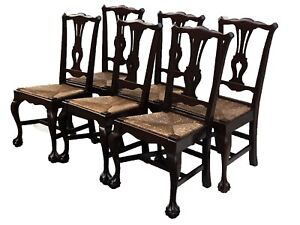 20TH C SET OF 6 CHIPPENDALE ANTIQUE STYLE BALL & CLAW DINING CHAIRS ~ RUSH SEATS