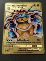 Pokemon Fan Made Gold Metal Card - Blastoise Vmax