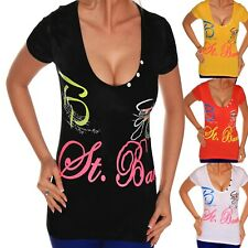 Mujer Top Camiseta Verano Blusa Profundo Escote Manga Corta Algodón T.1.5