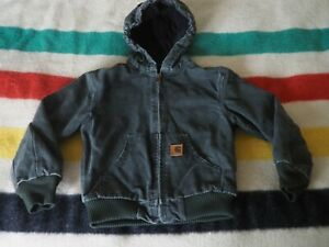 CARHARTT Y2k Olive Moss Green Zip Hooded Lined Duck Canvas Youth M Jacket EUC