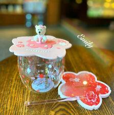 Hot Starbucks Cute Cat's Paw Sakura Double Wall Glass Set Lid Stir stick Coaster