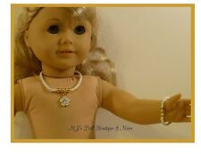 White Daisy Rhinestone Necklace & Bracelet Set fits American Girl Doll
