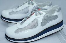 New Prada Women's Tennis Shoes Fashion Sneakerd Size 38 White Vernice Bike