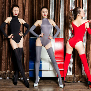 Sexy Women Mesh Sheer Body Stocking Long Sleeve Full Bodysuit Nightwear Lingerie