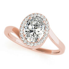 Real Oval Diamond Engagement Ring 0.70 Ct 18K Solid Rose Gold Rings Size 5 7 8 9