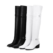 Womens Mid Heel Block Buckles Over Knee Boots Party Shoes AU Plus Size 2-13