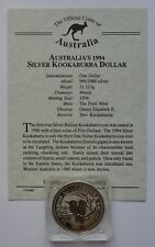 1994 Australia  Kookaburra  $1 Dollar Silver Coin COA
