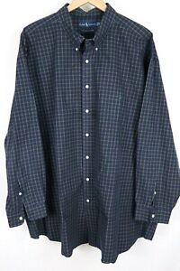 Ralph Lauren Mens sz 4XB Big Blue Check Two-Ply Cotton Btn up Long Sleeve Shirt