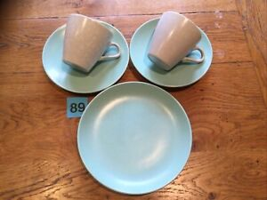 POOLE POTTERY TWINTONEIce Green & Seagull (C57) 2 X Cup &  Saucer 1 Side Plate