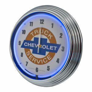Chevrolet Chevy Truck Service Bowtie Blue Neon Lighted Wall Garage Clock Chrome
