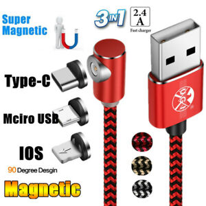 90 Degree L-line Magnetic Charging USB Fast Charging Cable Micro IOS Type-C 1-3M