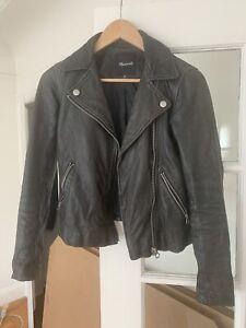 Madewell Washed black leather motorcycle jacket (XXS, Women's )