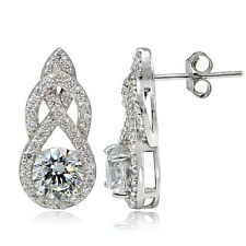 Platinum Plated Sterling Silver 100 Facets Cubic Zirconia Infinity Drop Earrings