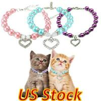 US Pet Cats Pearl Collar Chain Accessories Dog Puppy Necklace With Love Pendant