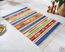 Kelim Tappeto * COTONE tassel-bordered 90x60cm etnica INCA RUNNER MAT LUMINOSO COLORATO