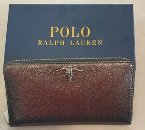 Polo Ralph Lauren Womans Metallic Glittery Zip Around Wallet