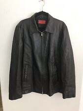 HUGO BOSS Lambs Leather Jacket Sz 46 XL Excellent Condition - Black