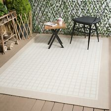 Waikiki Collection Reversible Indoor/Outdoor Bordered Squares Area Rug