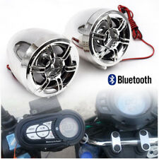 Waterproof Bluetooth Motorcycle Audio Radio Sound Stereo Speakers MP3 USB Chrome