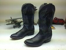 BLUE BLACK LEATHER DISTRESSED COYOTE WESTERN COWBOY BOOTS 8 D