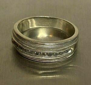 Mens Vintage 14K White Gold Diamond Wedding Band Ring size 8 1/4 & 6.6 grams