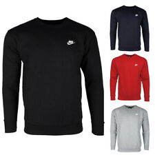Nike Men's Athletic Wear Club de logotipo bordado cuello redondo Sudadera Activo Gimnasio