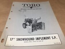 "toro 17"" snowhound implement s.p implement parts list,IPL ,antique toro tractor"