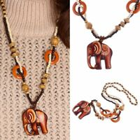 Pendant Necklace Women Ethnic Style Long Hand Made Bead Wood Elephant Excellent